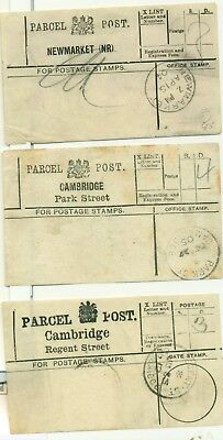 Cambridge and Newmarket parcel post labels 1904 1905 1912