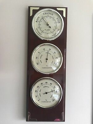 Wall Weather Station Barometer Thermometer Hygrometer On Mahogany