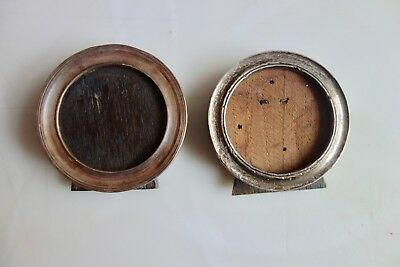 2 X Vintage Solid Silver Round Photo Frames - No Glass