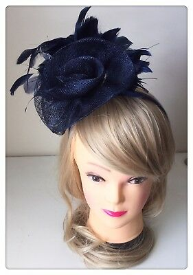 Classic Sinamay Fascinators Vintage Navy Blue Feather Flower Races Wedding Party