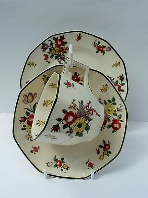Royal Doulton 'Old Leeds Sprays' TRIO of COFFEE Cup, Saucer, Side Plate vgc
