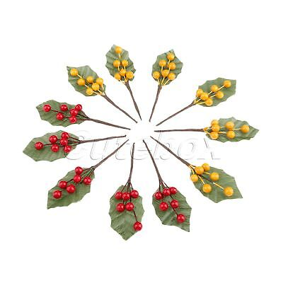 Fake Berry Flowers Stamens Artificial Fruit Berries Branch Party Decoration 10X
