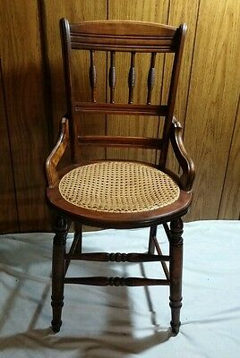Vtg Antique Eastlake Design Dining Ornate Wood Caned Cane Seat Hip Rest Chair