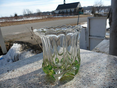 "Antique Heavy Tumbler Cut Clear & Green Drinking US Glass 1900 Vase 4"" Vintage"