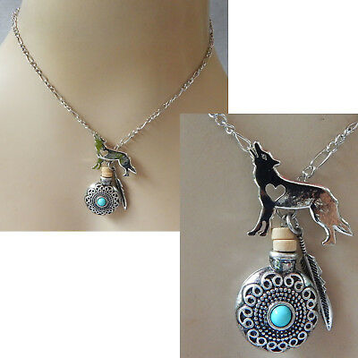 Wolf Heart Necklace Pendant Silver Jewelry Handmade Chain NEW Fashion Bottle