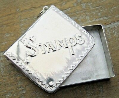 Antique Style English Hallmarked Sterling Silver Stamp Case Box Book Chatelaine