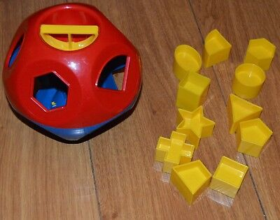 Baby Toddler Rare Vintage Tupperware Red Blue Shape Sorter Complete Toy
