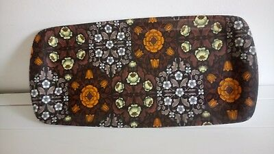 VINTAGE 70s THETFORD BROWN Orange Flower Floral MELAMINE TRAY 45x22cm