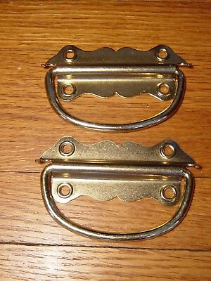 Chest Trunk Handles Brass Plated 2 Pulls Drop Handle Vintage Half Moon Old Stock