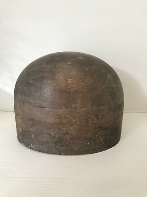 Vintage Milliners Wooden Oval Hat Block with 3 holes at the bottom