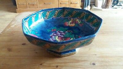 Losol Ware Keeling & Co. Art Nouveau Hexagonal Footed Bowl. Armardo Superb