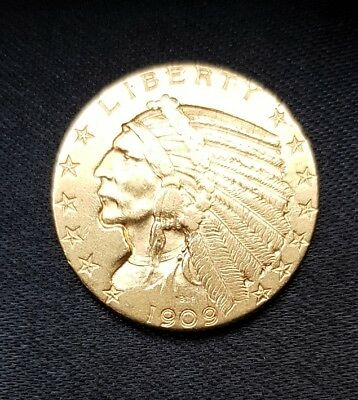 USA Republik, 5 Dollars Gold,1909, Indian Head, Half Eagle
