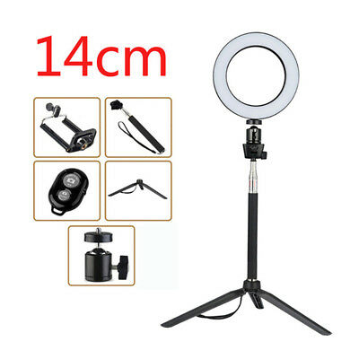 14CM Dimmable LED Ring Light Photography Selfie Light Photo Camera Bluetooth #