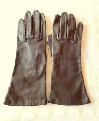 Vintage Fownes Brown Leather Gloves Size 7.5