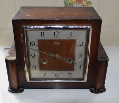 Vintage Smiths Enfield Art Deco Square Faced Mantel Clock