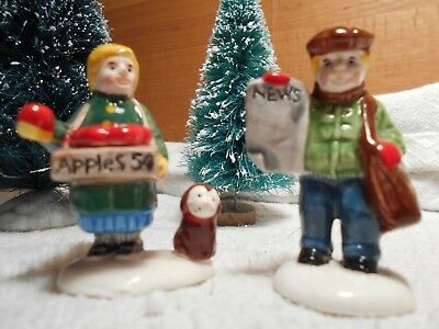 "Dept 56 Original Snow Village Accessory ""apple Girl/newspaper Boy""  Item #51292"
