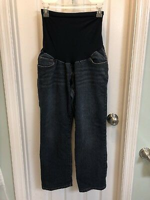 Indigo Blue Maternity Women's Boot Cut Jeans Sz Petite Large Over The Belly!!