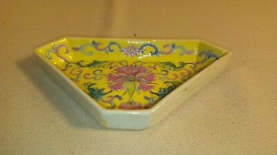 Vintage Chinese Fen Cai on yellow dish six corners embossed enamel florals