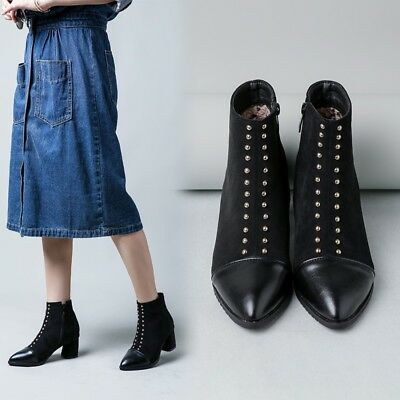 Spike Zip Fashion Women's Ankle Boots Pointy Toe Blcok Heels Suede Casual Shoes