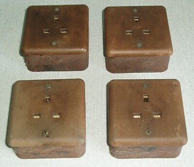 4 Vintage Mk Bakelite 13A Electric Sockets C/w Crabtree Cast Iron Back Boxes