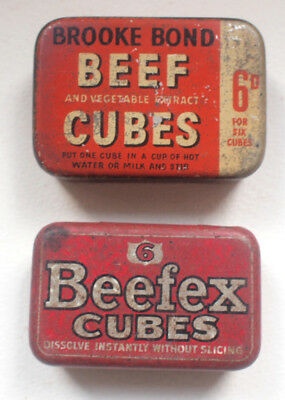 2x CUBES Beefex Brooke OXO 1960s Food Vintage Retro Food Advertising Tin