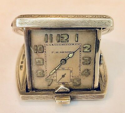 Art Deco Eszeha Chopard Tavannes 935 Silver Case Travel Clock