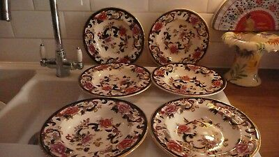 Masons Blue Mandalay,6 Rimmed Soup Bowls,used, But Excellent Condition