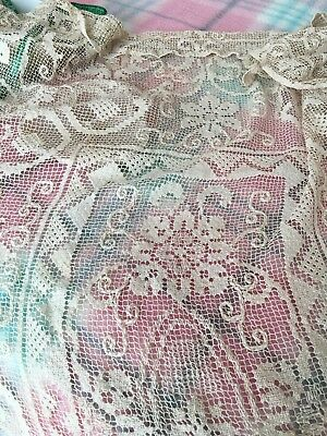 BeautifulVintage Filet Lace Tablecloth 54 X 68.