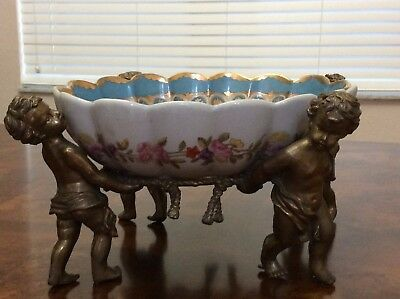 Angel Putti Brass Bronze Porcelain Ceramic Centerpiece Bowl Jardiniere Cherubs