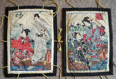 Early 1900s Japanese Watercolours on Crepe silk~ Set 4 Japanese fables