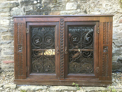 stunning english solid oak carved side board 19 - 18 century beautiful iron work