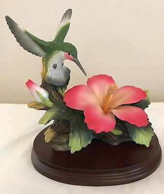 Andrea by Sadak Hummingbird with Hibiscus Flower Figurine with wooden base