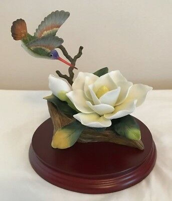 Andrea by Sadak Hummingbird with White Rose Figurine with wooden base