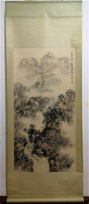 Excellent Chinese 100% Hand Painting & Scroll Landscape By Fu Baoshi 傅抱石 ZZ916I
