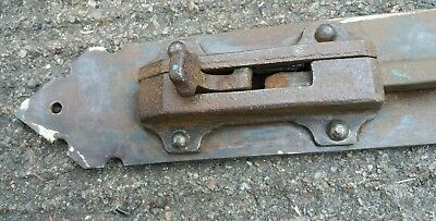 "Antique door bolt. 37"" long. Blacksmith made."