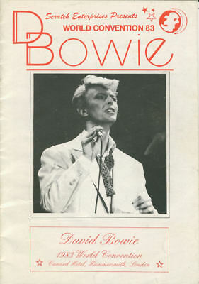 David Bowie 1983 World Convention programme at Cunard Hotel, Hammersmith, London