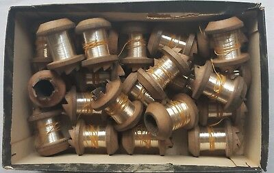 """A Large lot of 23 Bobbins of Silver Metallic Thread """"Strong"""" French"""