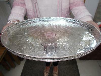 """Vintage Large Viners Silver Plated Tray Very Ornate Gallery 18"""" Plate Wear"""