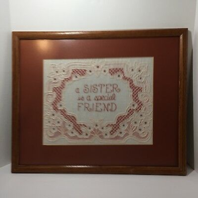 "A Sister is A Special Friend Finished Framed Embroidery 21.25"" x 17.25"""