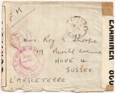 1942 British POW mail Vichy France Laghouat Algeria Camp to Hove GB