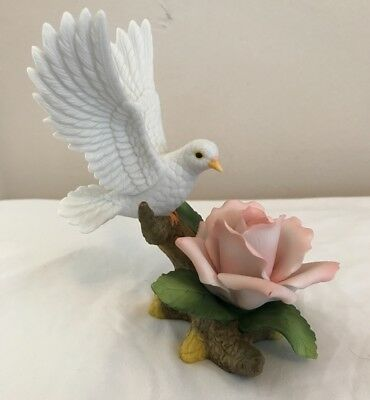 Andrea by Sadek White Dove with Pink Rose Figurine