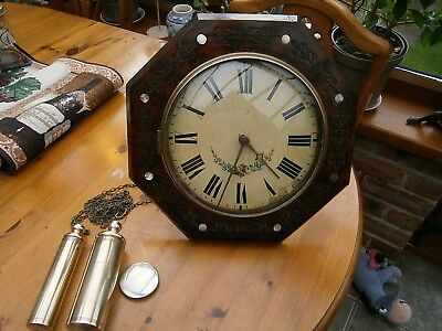 ANTIQUE  1800 s POSTMAN'S WALL CLOCK , SPARES  or  REPAIR.