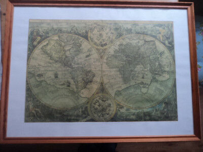 Map Of The World 1596 Vintage Reproduction, Framed