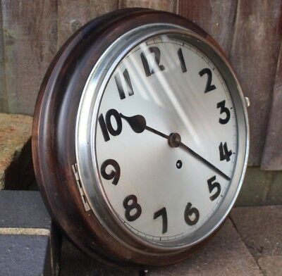 Antique 8 Day Mahogany Wall Clock School Waiting Room