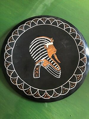 Vintage Egyptian Copper Metal Etched Carved Wall Plate Plaque Rare