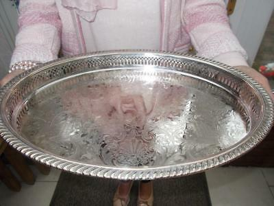 """Vintage Silver Plated Gallery Edged Tray In Good Condition 16"""" (40Cm) Long"""