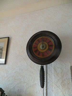 Antique postmans wall clock with alarm, working order unusual face,weight driven