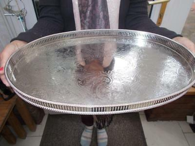 """VINTAGE SILVER PLATED GALLERY EDGED TRAY IN GOOD CONDITION 18"""" (46cm) LONG"""