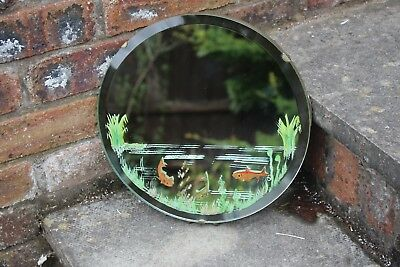 Vintage Deco Round Fish Mirror Bevelled Glass