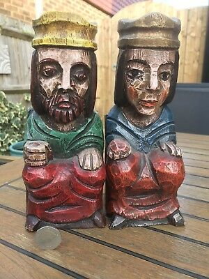 Vintage Antique Large King & Queen Book Ends Wood Medieval Black Forest European
